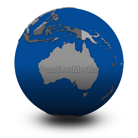 australien auf politische globus illustration