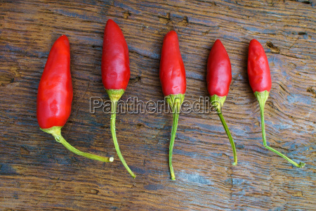 five chili peppers in a row
