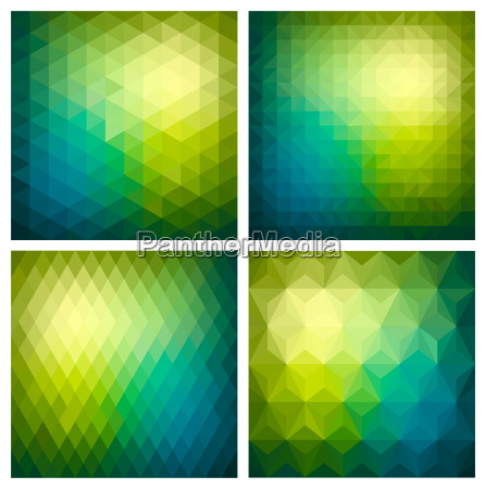 abstract geometric green background set