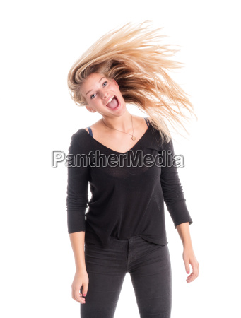young woman shakes her wild mane