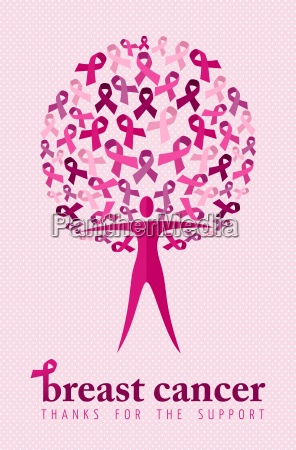 breast cancer support poster woman ribbon