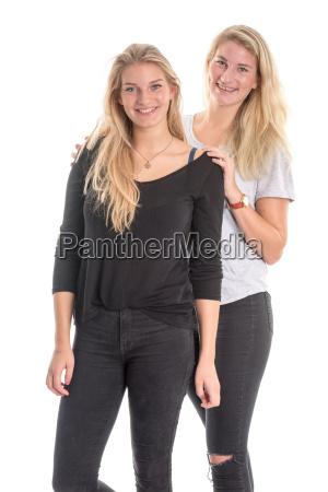 2, schwestern, mit, langen, blonden, haaren - 14928731