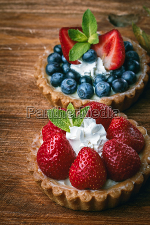 desserts on wooden table