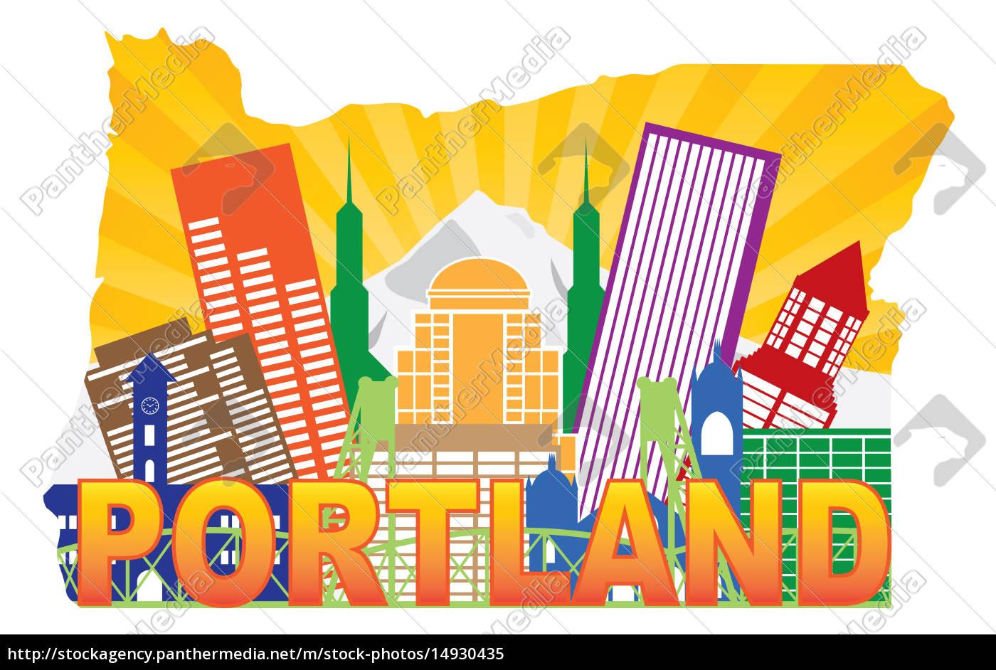 Lizenzfreies Bild 14930435 - Portland Oregon USA Skyline and Mt Hood in  State Map Outline
