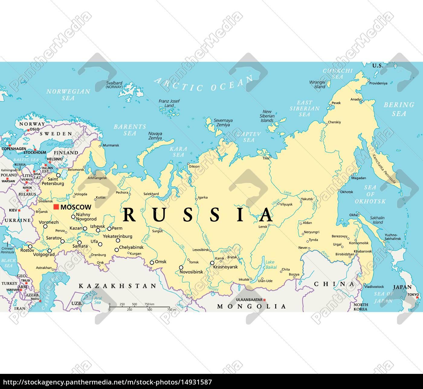 Karte Russland.Lizenzfreie Vektorgrafik 14931587 Russland Politische Karte