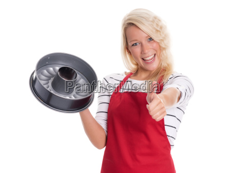 housewife in apron holding a baking