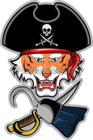 tiger als pirat mit einem haken