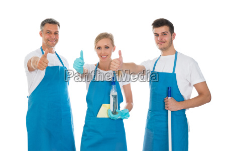 cleaners showing thumb up sign