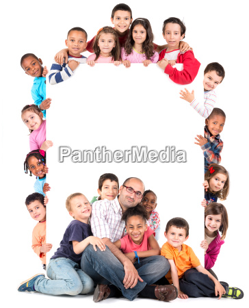 group of children with teacher