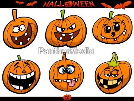 halloween pumpkins cartoon set