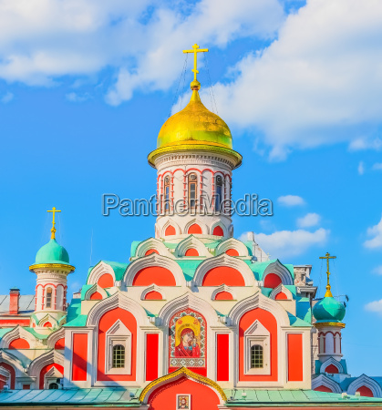 orthodox church kazan cathedral on red