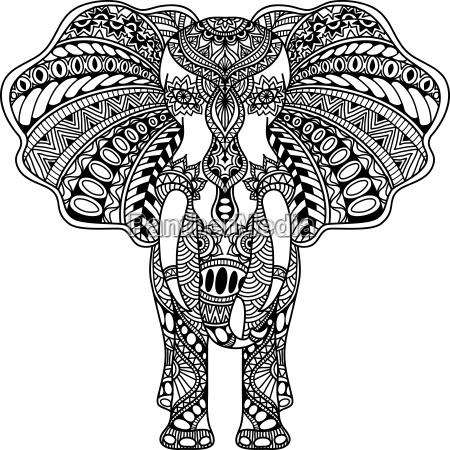 vektor henna mehndi dekoriert indischen elefanten