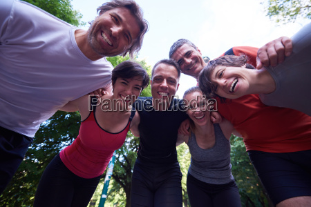 jogging people group have fun