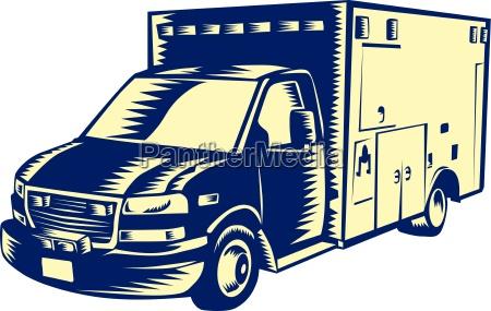 ems ambulance emergency vehicle holzschnitt