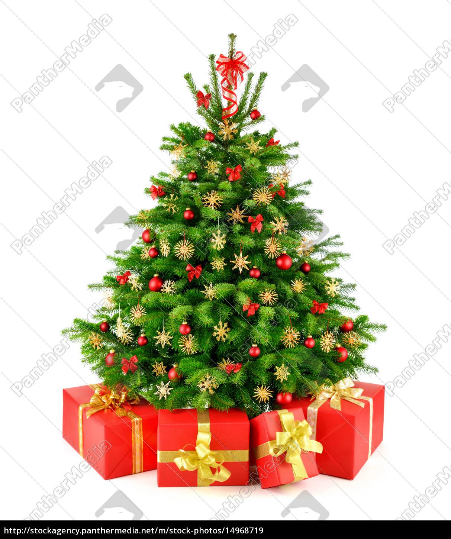 weihnachtsbaum mit strohsternen und geschenken stockfoto. Black Bedroom Furniture Sets. Home Design Ideas