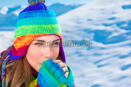 woman in winter time outdoors
