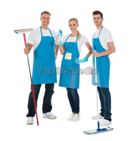 cleaning workers with cleaning equipments