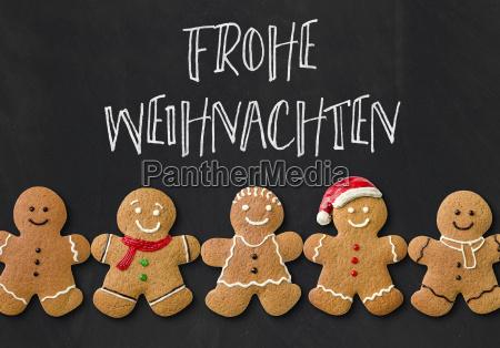 weihnachtskarte mit lebkuchenmaennchen