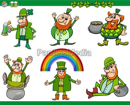 saint patrick day cartoon set