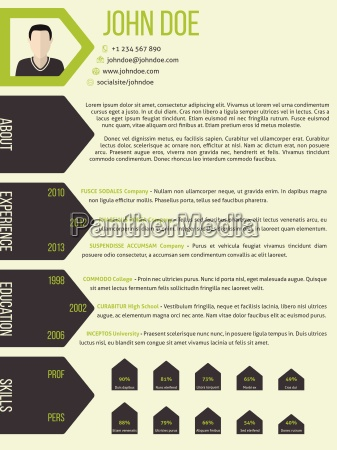 cv resume template with arrow ribbon