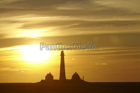 westerhever deutschland leuchtturm bei sonnenuntergang