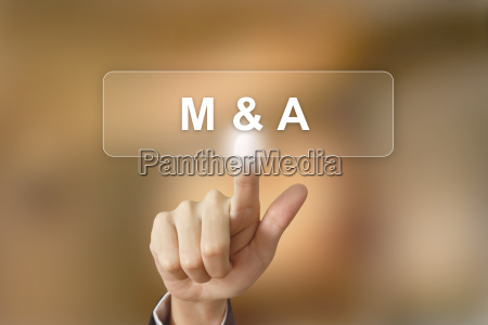 business hand clicking merger and acquisition