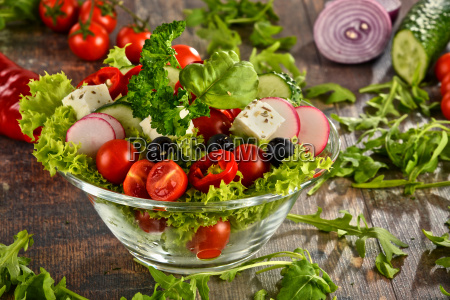vegetable salad bowl on kitchen table