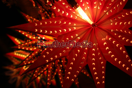 beautiful traditional lanterns lit on the