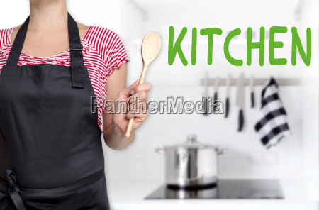 kitchen koechin haelt kochloeffel hintergrund konzept