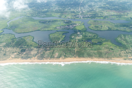 aerial view of the shores of