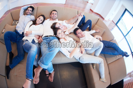friends group get relaxed at home