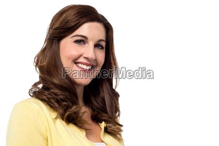 cheerful pretty smiling woman
