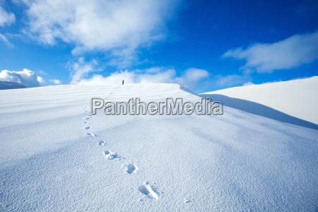 reisen entlang schneebedeckten berge