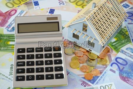 taschenrechner mit leerem display auf euro