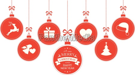 haengende kugeln mit weihnachtssymbolen