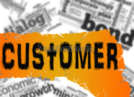 word cloud with customer word on