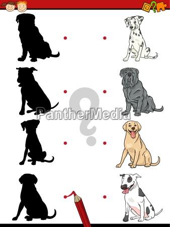 preschool shadow task with dogs