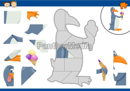 cartoon penguin jigsaw puzzle task