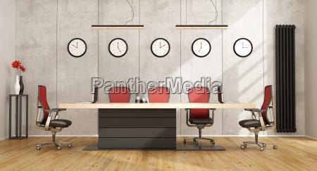 minimalist sitzungssaal mit modernen moebeln