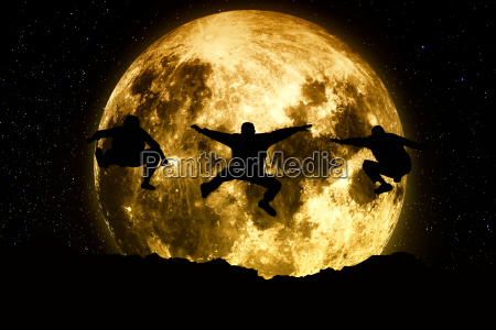 three friends jumping on a moon