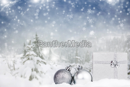 christmas background with christmas decorationand gift