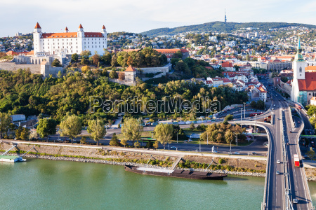 danube waterfront bridge and bratislava city