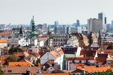 bratislava town skyline with tower of