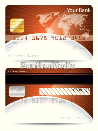 credit card template with bursting world