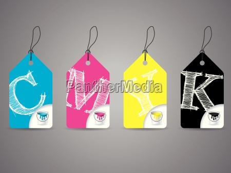 cmyk etiketten mit farbe und kritzelte
