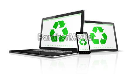 elektronische geraete mit einer recycling symbol