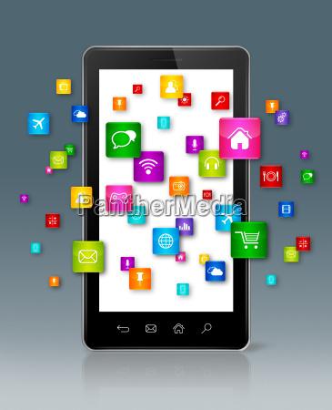 apps icons rund um smartphone fliegen