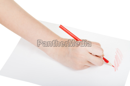 hand draws by red pencil on