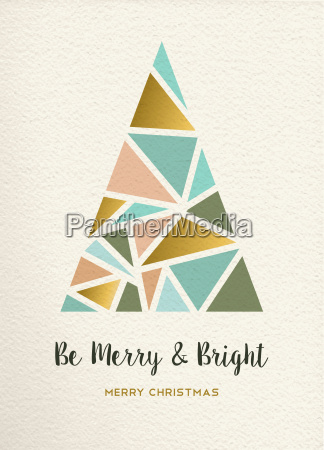 merry christmas tree triangle gold vintage