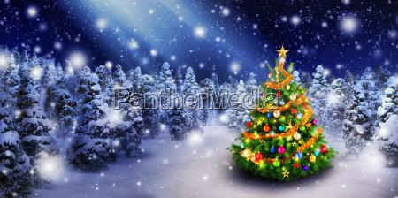 weihnachtsbaum im schoenen schnee